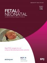 Archives of Disease in Childhood - Fetal and Neonatal Edition: 102 (5)