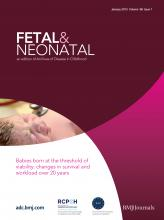 Archives of Disease in Childhood - Fetal and Neonatal Edition: 98 (1)