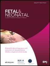 Archives of Disease in Childhood - Fetal and Neonatal Edition: 99 (1)